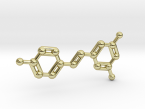 Resveratrol (Red Wine) Molecule Keychain in 18K Gold Plated