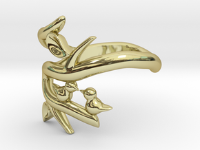 Two Birds on a Branch 2 (custom size 8 3/4) in 18K Gold Plated