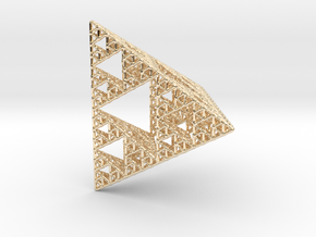 Sierpinski Pyramid; 4th Iteration in 14k Gold Plated Brass