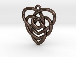 Mother's Knot Pendant in Polished Bronze Steel: Medium