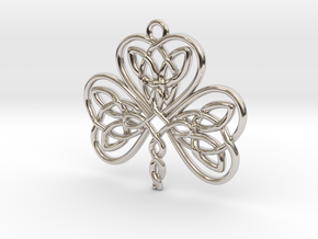 Shamrock Knot Pendant 1.25 Inch in Rhodium Plated Brass
