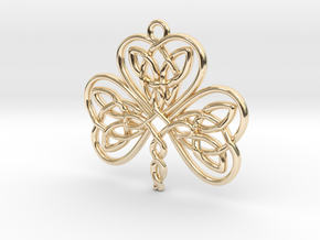 Shamrock Knot Pendant 1.25 Inch in 14k Gold Plated Brass