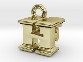 3D Monogram Pendant - HFF1 in 18K Gold Plated