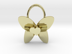 Cute Heart Butterfly Pendant in 18K Gold Plated