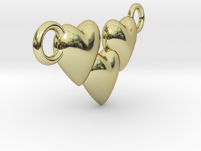 Love Three Hearts (Big Size Pendant) in 18K Gold Plated