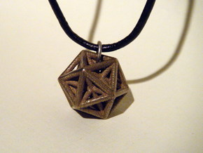 stellated dodecahedron inside icosohedron in Matte Bronze Steel