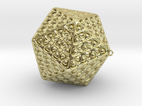 Christmas Tree Ornament Icosahedron Smaller in 18K Gold Plated