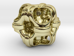 Hollowed out cube looped and piped. #1 Smaller in 18K Gold Plated
