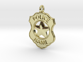 Police Badge Pet Tag / Pendant / Key Fob in 18K Gold Plated