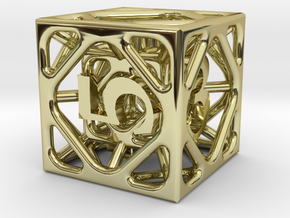 Cage Die6 in 18K Gold Plated