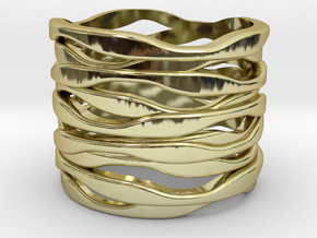 BASHIBA RAW WAVES  (19.5 mm) in 18K Gold Plated