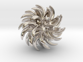 Little Chrysanthemum in Rhodium Plated Brass