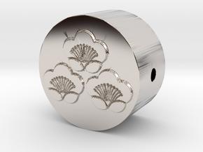 家紋の数珠ブレスレットパーツ(三つ盛り匂い梅) in Rhodium Plated Brass