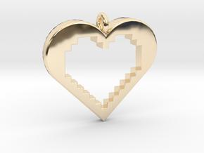 Pixel Heart in 14k Gold Plated Brass