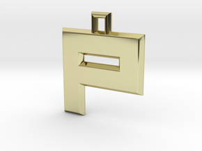 ABC Pendant - P Type - Solid - 24x24x3 mm in 18K Gold Plated