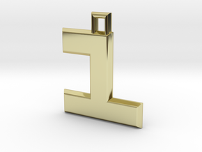ABC Pendant - 1 Type - Solid - 24x24x3 mm in 18K Gold Plated