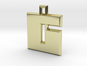 ABC Pendant - 6 Type - Solid - 24x24x3 mm in 18K Gold Plated