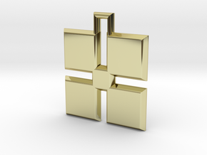 ABC Pendant - X Type - Solid - 24x24x3 mm in 18K Gold Plated