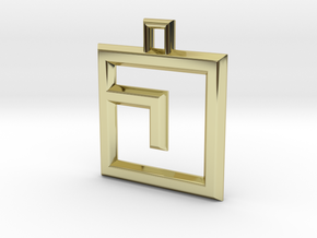 ABC Pendant - J Type - Solid - 24x24x3 mm in 18K Gold Plated