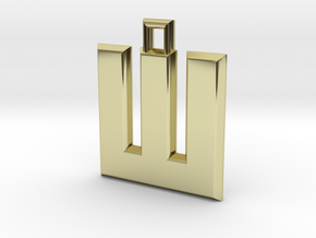 ABC Pendant - W Type - Solid - 24x24x3 mm in 18K Gold Plated