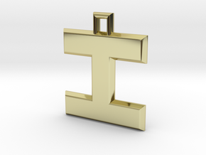 ABC Pendant - I Type - Solid - 24x24x3 mm in 18K Gold Plated
