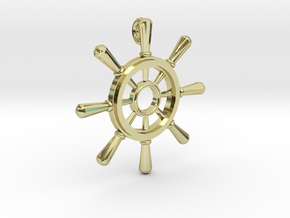 Ships Wheel Pendant in 18K Gold Plated