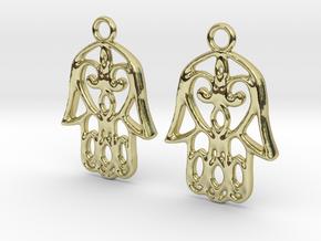 Hamsa Hand Earrings in 18K Gold Plated