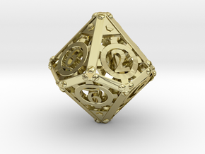 Steampunk d10 in 18K Gold Plated