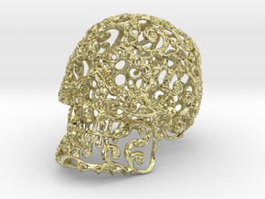 Large Carved Skull - Plastic/Stone/Metal 9.38cm in 18K Gold Plated