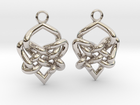 Celtic Heart Knot Earring in Rhodium Plated Brass