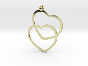 2 Hearts necklace pendant in 18K Gold Plated