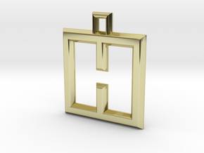 ABC Pendant - H Type - Wire - 24x24x3 mm in 18K Gold Plated
