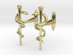 Snake rod cufflinks (medicine) in 18K Gold Plated
