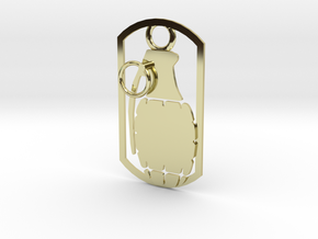 Hand grenade dog tag in 18K Gold Plated