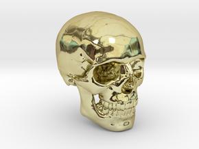 18mm 0.7in Human Skull Crane Schädel че́реп in 18K Gold Plated
