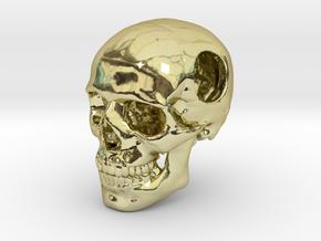 18mm .7in Bead Human Skull Crane Schädel че́реп in 18K Gold Plated