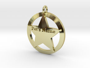 Revised 5 point sheriffs star pet tag in 18K Gold Plated