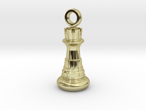 Chess Rook Pendant in 18K Gold Plated