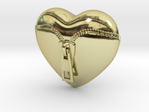 Leather Zipped Heart Pendant in 18K Gold Plated