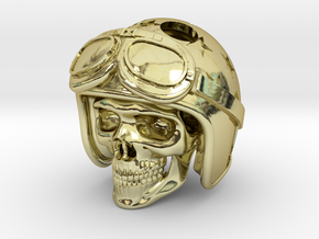 "Easy Rider Skull Pendant ""Silver"" in 18K Gold Plated"