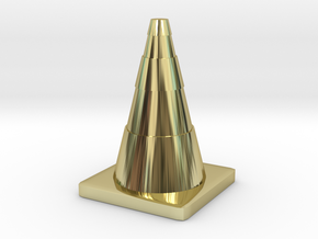 Construction Cone Custom Board Game Piece  in 18K Gold Plated