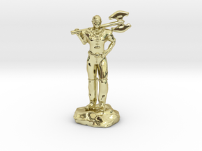 Half Elf Barbarian Woman with Great Axe in 18K Gold Plated