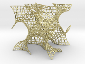 Gyroid Mesh, single cell in 18K Gold Plated