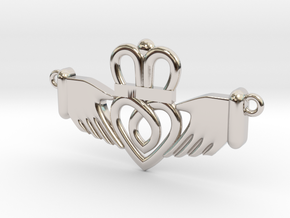 Claddagh Pendant in Rhodium Plated Brass