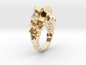 Crystal Ring size 7 in 14k Gold Plated Brass