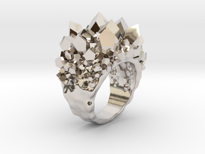 Double Crystal Ring Size 8 in Rhodium Plated Brass
