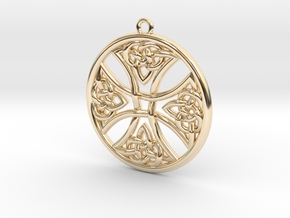 Round Celtic Cross Pendant in 14k Gold Plated Brass: Medium