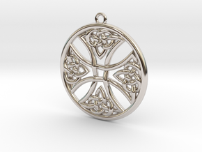 Round Celtic Cross Pendant in Rhodium Plated Brass: Medium