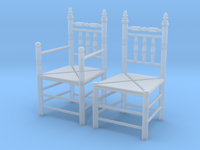 1:48 Pilgrim's Chairs, Set of 2 in Smooth Fine Detail Plastic