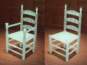 1:48 Pilgrim's Slat Back Chairs in Smooth Fine Detail Plastic
